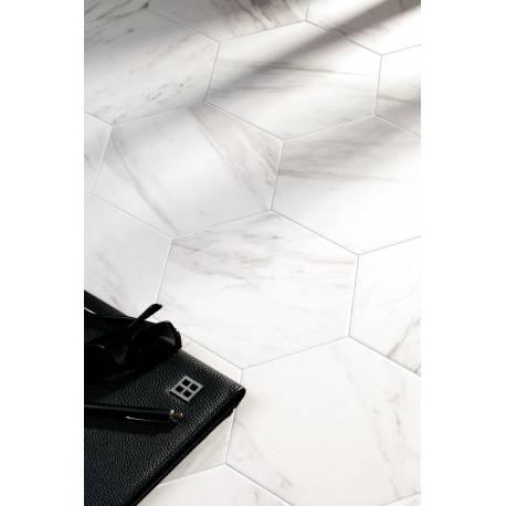 carrelage marbre blanc de forme hexagonale codicer 95 carrara hex 25 25x22cm. Black Bedroom Furniture Sets. Home Design Ideas