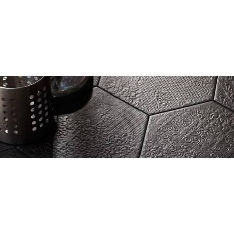 Carrelage Décoratif Hexagonal Noir Avec Motifs En Relief Codicer - Carrelage hexagonal noir