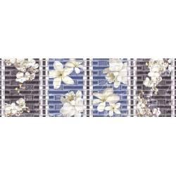 Faïence fleurs blanches sur fond bleu dublin 20x60cm