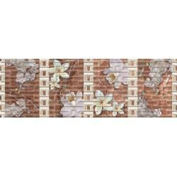 Faïence fleurs blanches sur fond marron dublin 20x60cm