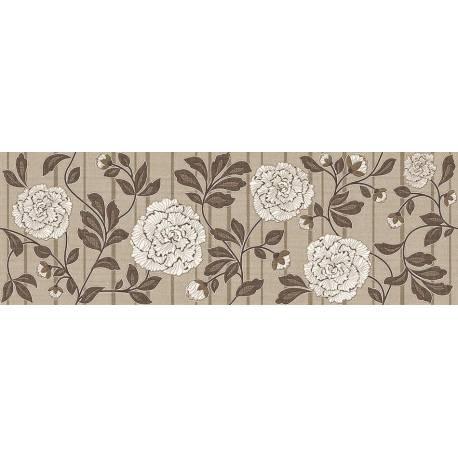 Faïence motifs floraux blanc et marron aranda 30x90cm