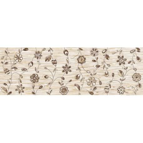 Faïence motifs floraux beige iris 30x90cm