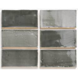 Handmade dark grey mix 7,5x15 brillant