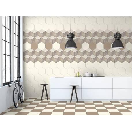 Plain Colours colours hexagon ivory 15x17,3
