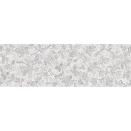 Faïence allongée blanche à motifs floraux microcemento 30x90cm rectifié mat
