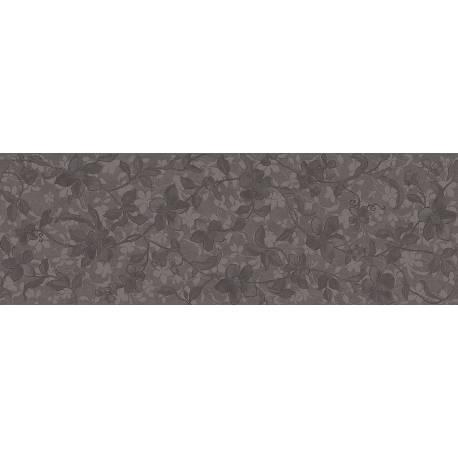 Faïence allongée noire à motifs floraux microcemento 30x90cm rectifié mat