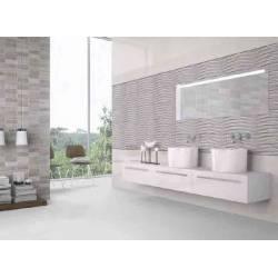 Faïence salle de bain vagues grises narbona 25x75cm satiné