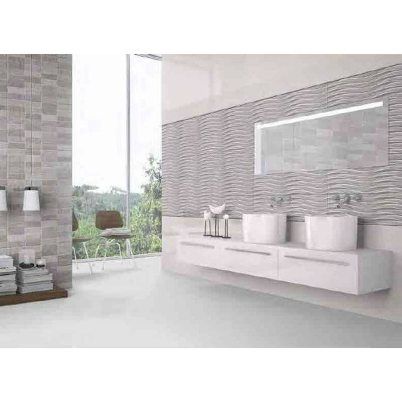 fa ence salle de bain vagues grises narbona 25x75cm satin. Black Bedroom Furniture Sets. Home Design Ideas