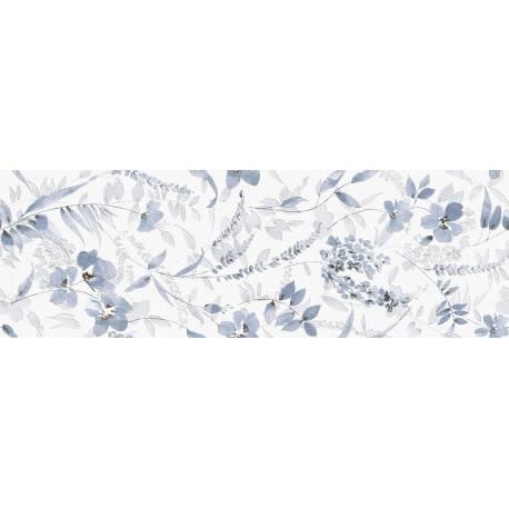 Faïence déco fleurs bleues menorca 30x90cm rectifié brillant