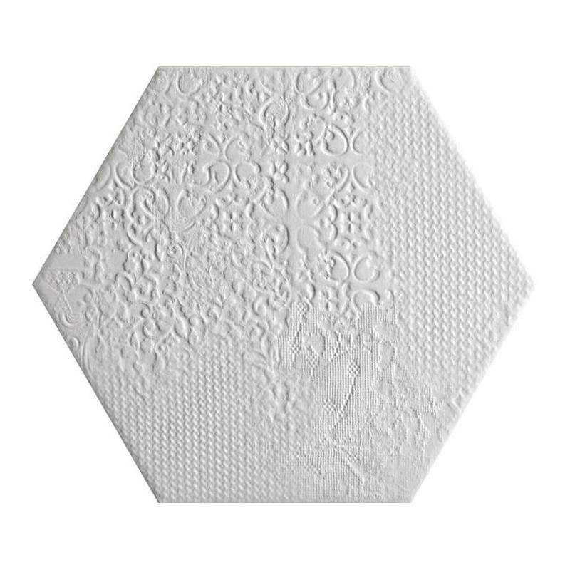 carrelage d coratif hexagonal blanc avec motifs en relief. Black Bedroom Furniture Sets. Home Design Ideas