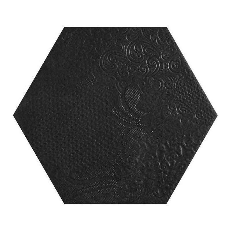 carrelage d coratif hexagonal noir avec motifs en relief. Black Bedroom Furniture Sets. Home Design Ideas