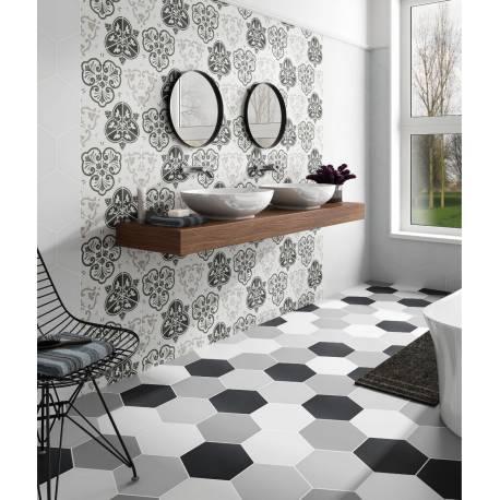 Carrelage Déco Hexagonal Inspiration Carreau Ciment Noir Et Blanc - Carrelage hexagonal noir